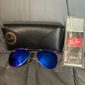 Authentic Ray-Ban aviators blue/gold women's